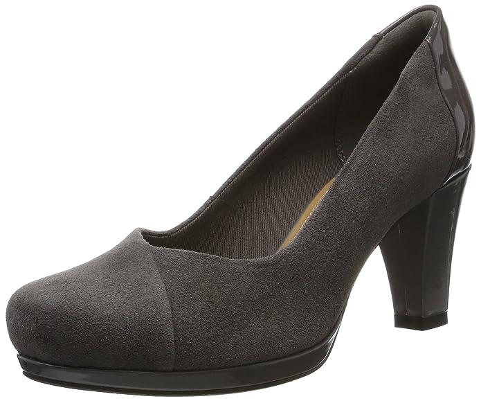 Clarks Chorus Carol, Zapatos de Tacón para Mujer, Gris (Dark Grey Combi), 35.5 EU
