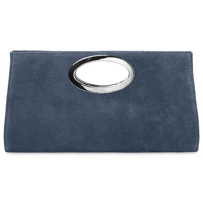 56bc56d07 CASPAR TL699 Bolso de Mano Fiesta para Mujer/XXL Clutch Grande de Piel de  Ante, Color azul oscuro: Amazon.es: Ropa y accesorios