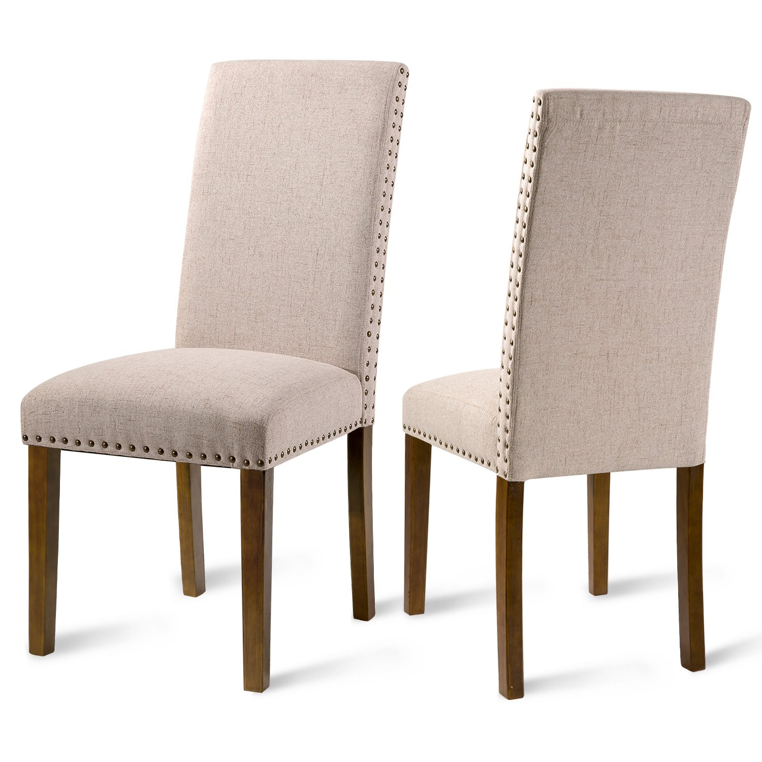 Merax Set of 2 Fabric Dining Chairs with Copper Nails and Solid Wood Legs (Beige)