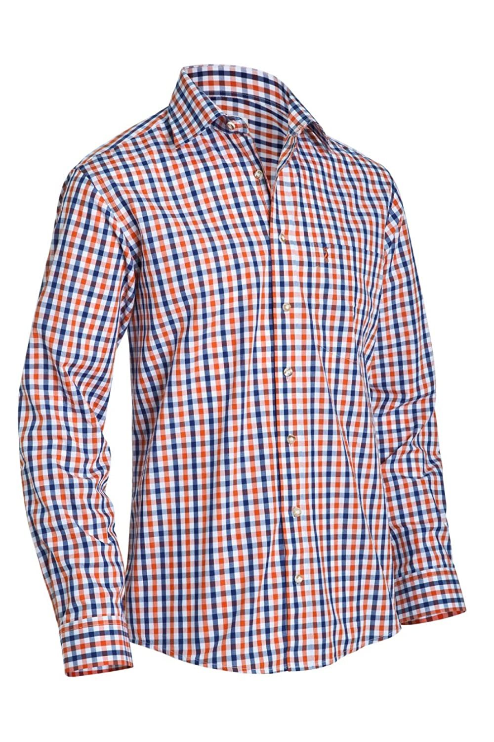 Almsach Herren Regular Fit Trachten Hemd 151 orange/blau