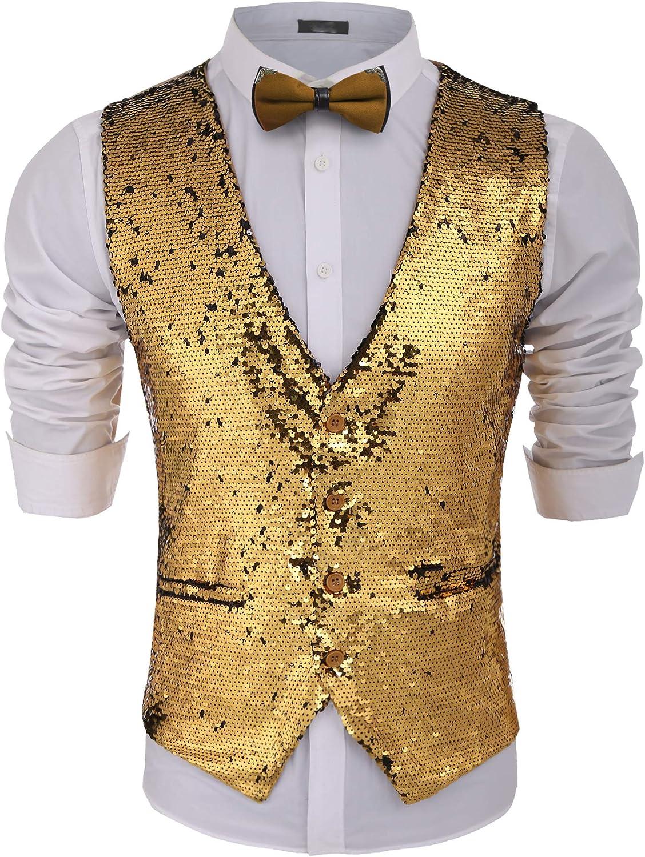 Jinidu Men's Slim Fit Shiny Sequins Vest waistcoat For Party,Wedding,Nightclub