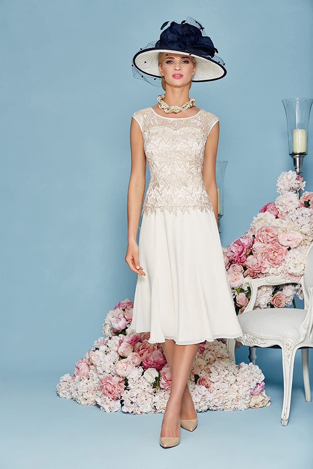 Newdeve Chiffon Mother Of The Bride Dresses Tea-Length With Jacket ...