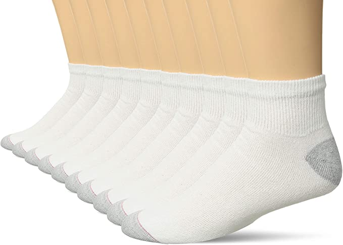 24  Pair HANES Men/'s White Cotton Stretch Athletic Ankle Sock Size10-13. 6 //12