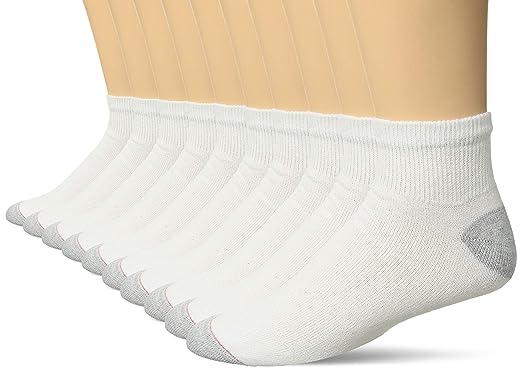 Calcetines tobilleros para hombre, 10 unidades, blanco, paquete de 2 (20 pares