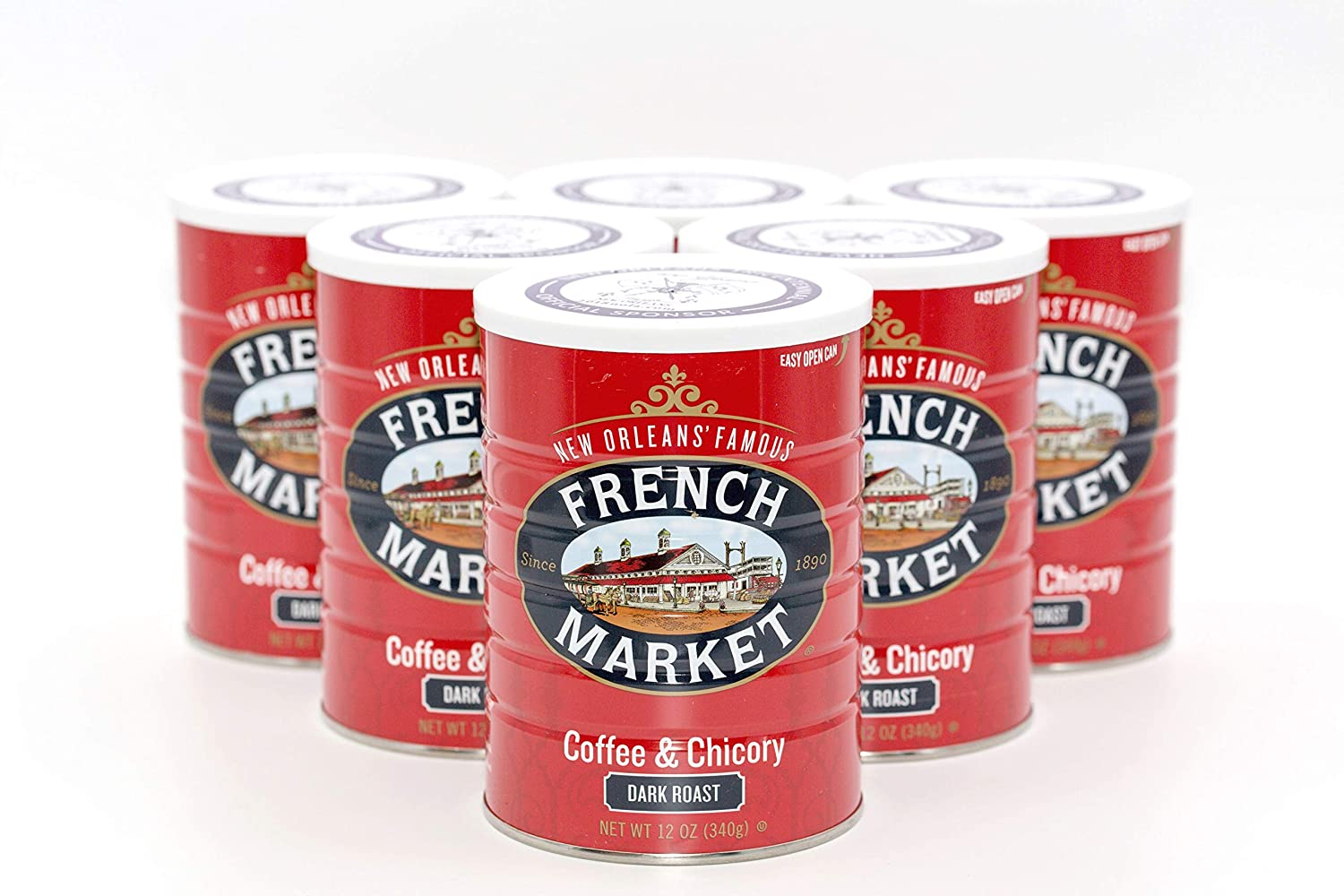 French Market Coffee, Coffee and Chicory, Dark Roast Ground Coffee, 12 Ounce Metal Can (Pack of 6)