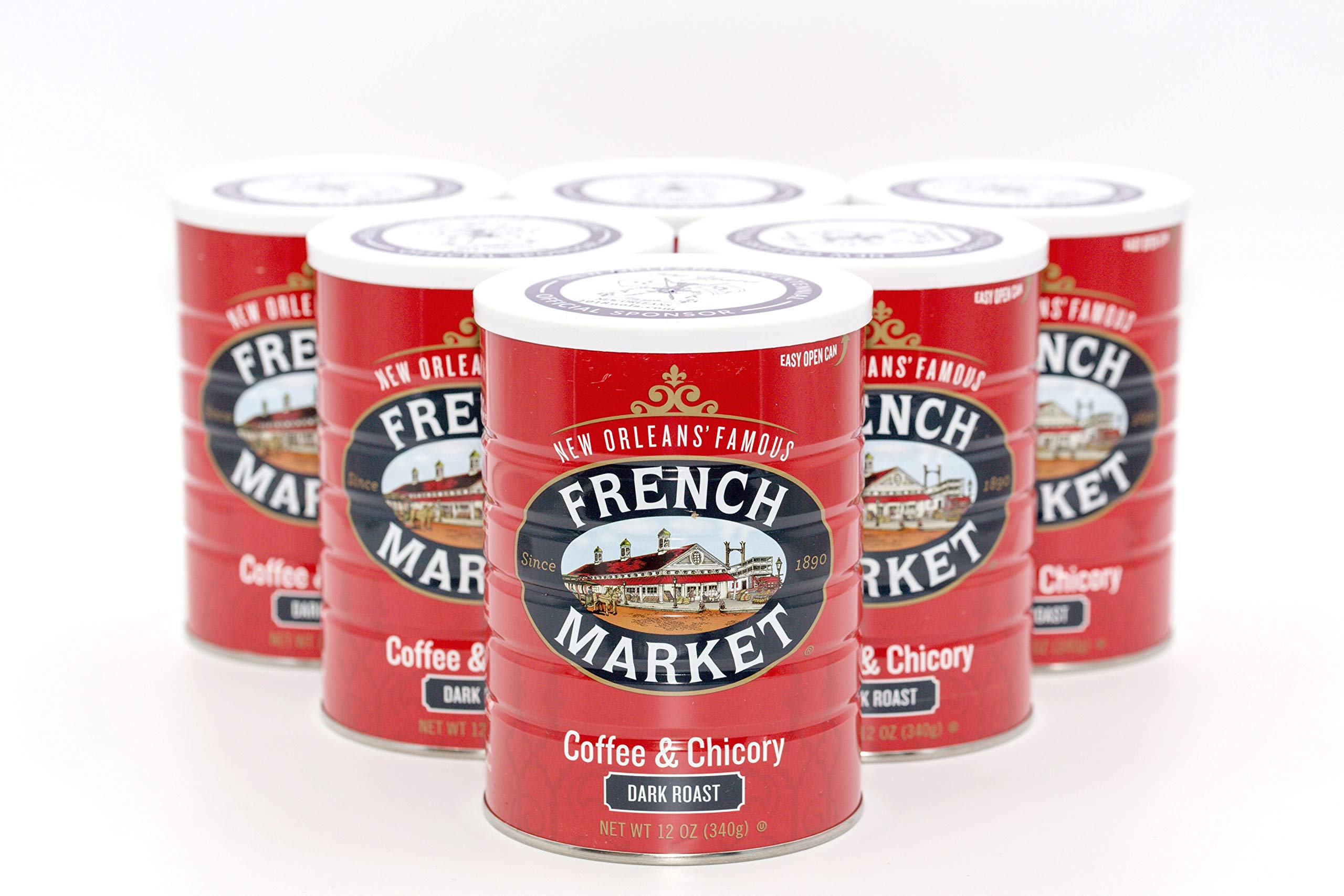 French Market Coffee, Coffee & Chicory, Dark Roast Ground Coffee, 12 Ounce Metal Can (Pack of 6)