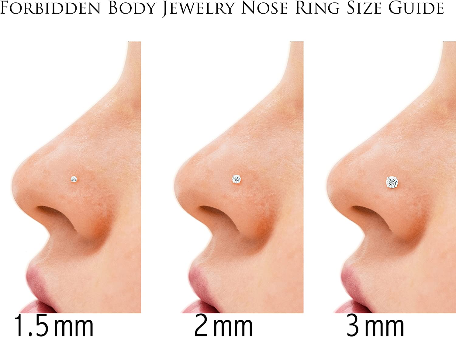 Set Of 3 Nose Piercing Studs Sterling Silver 22g Cz Nose Piercing