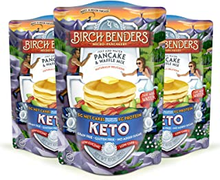 product image for Keto Pancake & Waffle Mix by Birch Benders, Low-Carb, High Protein, Grain-free, Gluten-free, Low Glycemic, Keto-Friendly, Made with Almond, Coconut & Cassava Flour, Just Add Water, 3 Pack (10oz each)