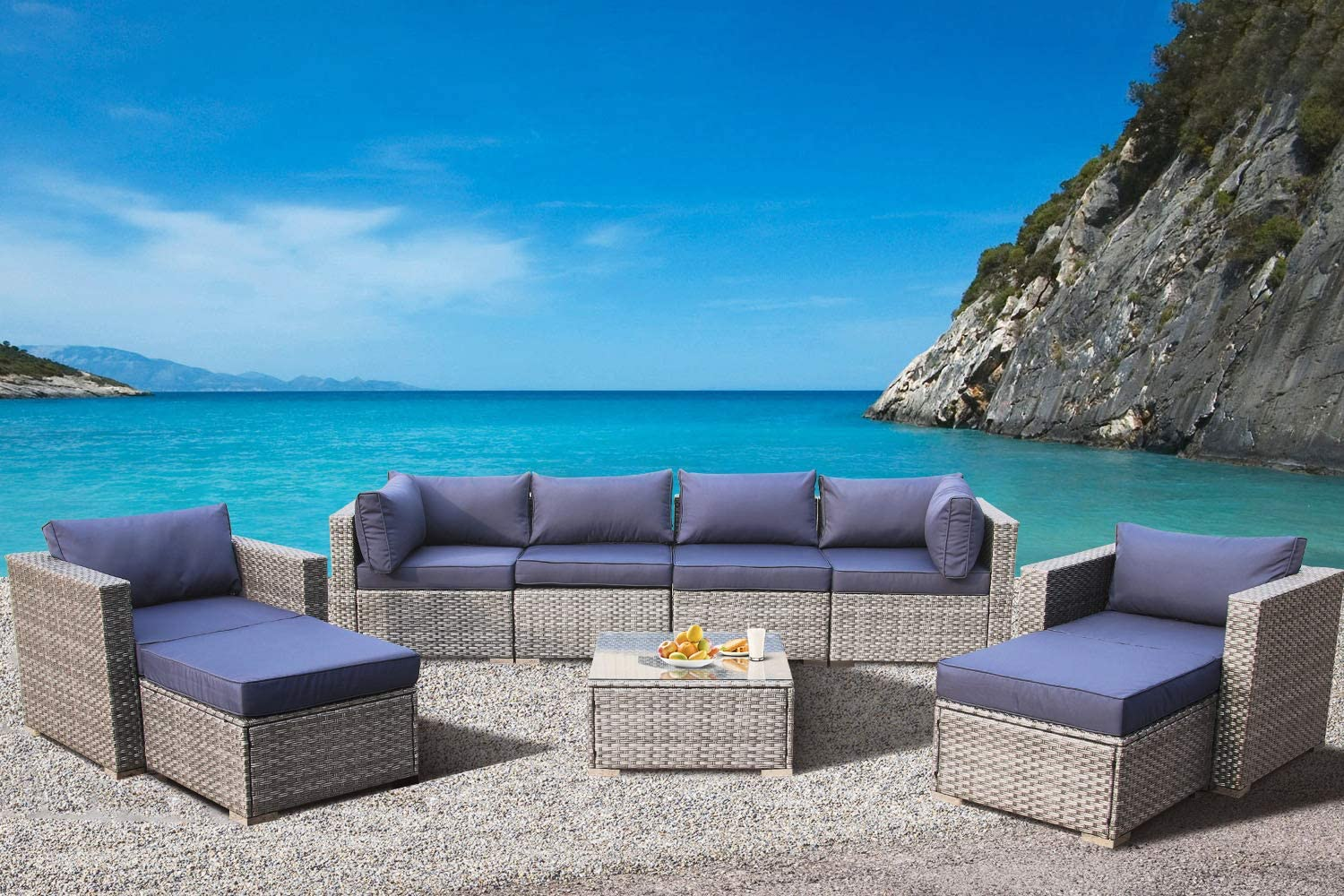 Leaptime Patio Furniture Sofa Garden Couch Set 9-Piece PE Gray Rattan Sofa Outdoor Sectional Sofa Deck Conversation Furniture Set with Navy Blue Cushion