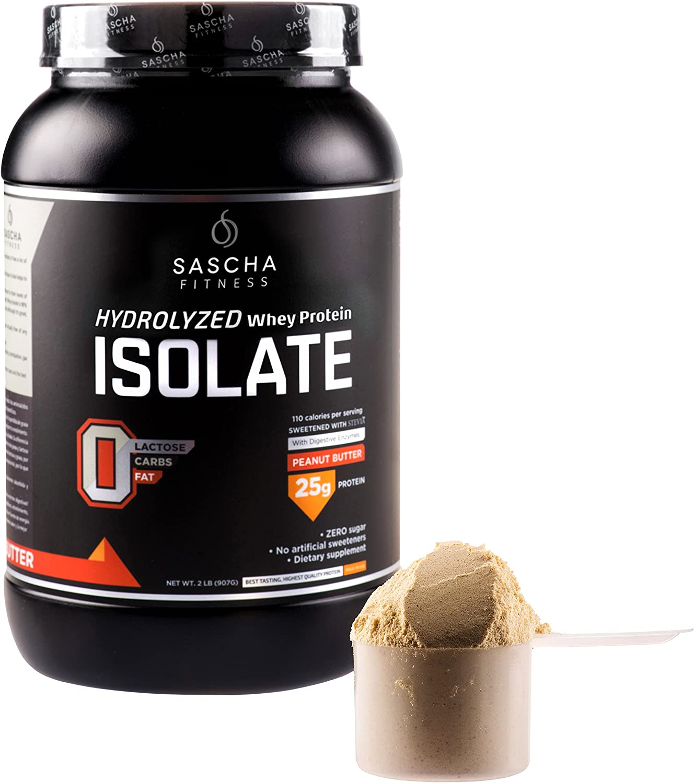 Sascha Fitness - Aislado de Proteína de Suero Hidrolizado (907 gr, Mantequilla de Maní)