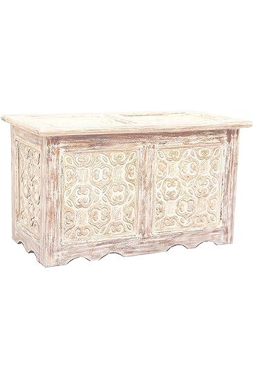 Orientalische Truhe Kiste aus Holz Ceyda 80cm groß in Weiß | Vintage ...