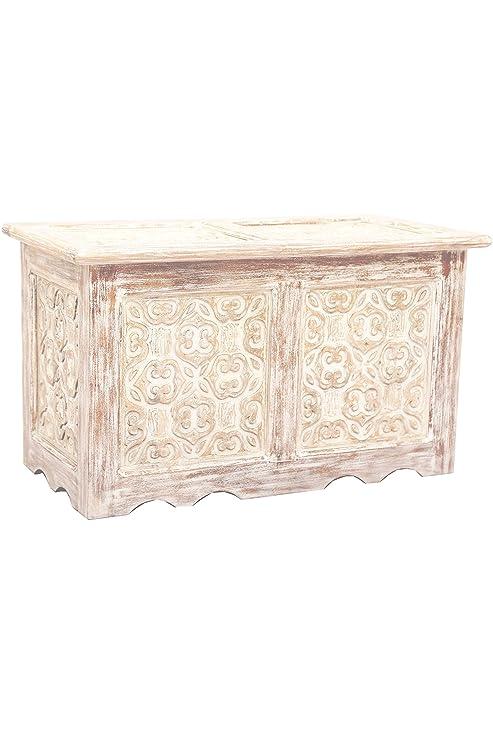 Orientalische Truhe Kiste aus Holz Ceyda 80cm groß in Weiß ...