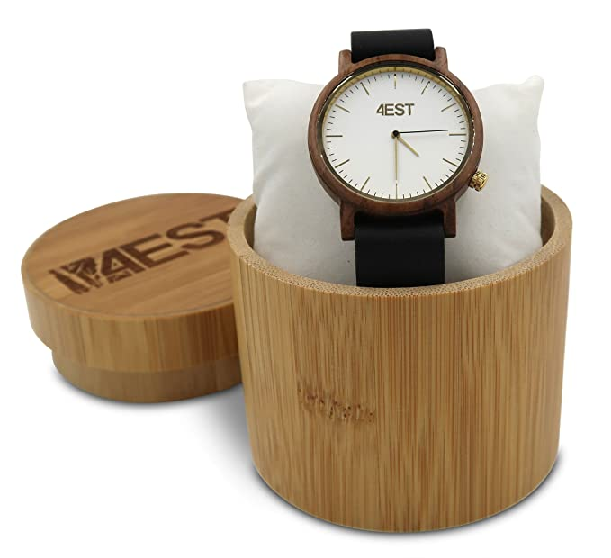51bfaaa6d47 Amazon.com  4EST Shades Real Wood Watch - Premium Wood and Leather ...