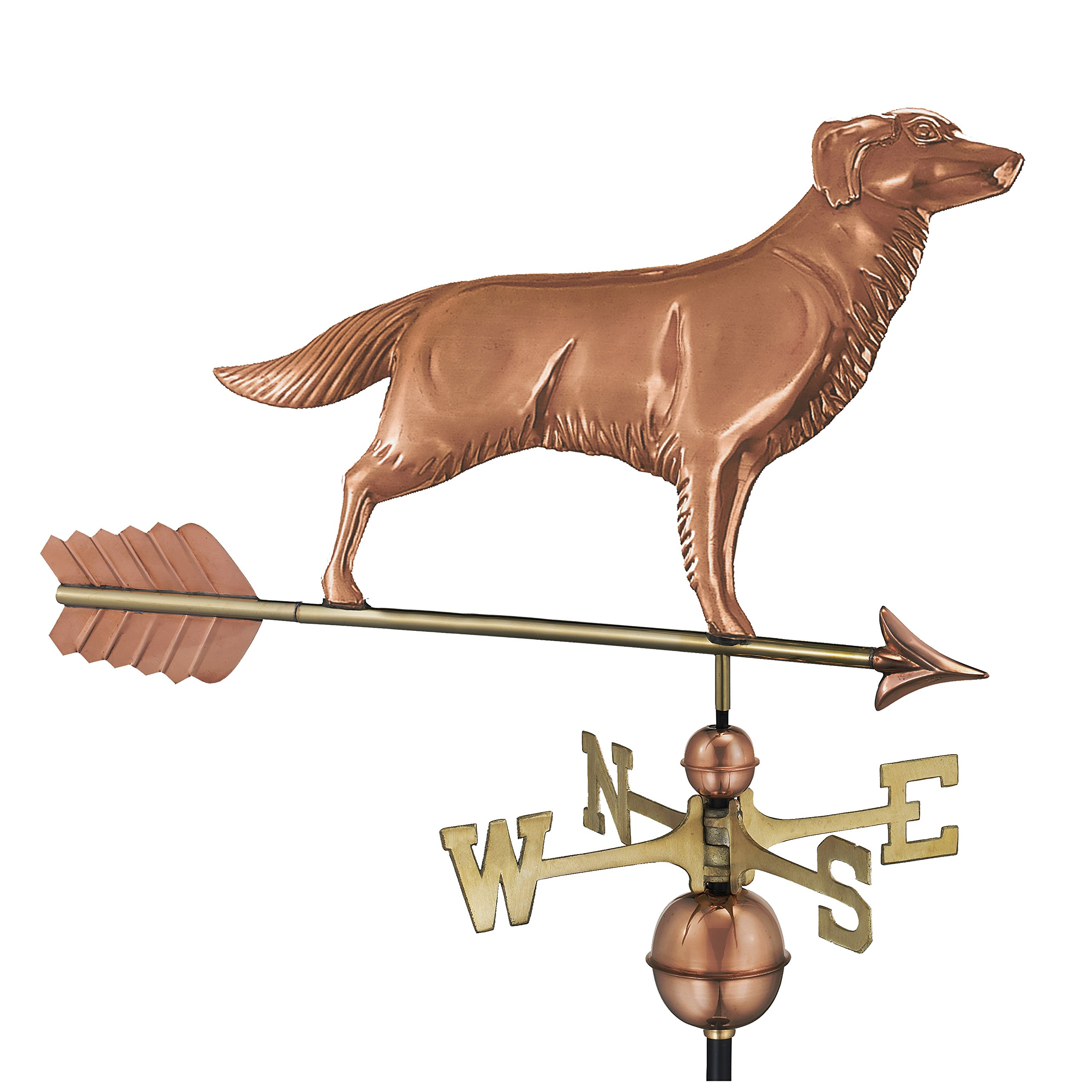 Good Directions Golden Retriever / Dog Weathervane with Arrow, Pure Copper