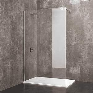 Mampara de ducha fija Walk de Praia cabina de baño con barra estabilizadora puerta de cristal templado transparente de 8 mm reversible perfil de pared de aluminio anodizado, transparente: Amazon.es: Bricolaje y