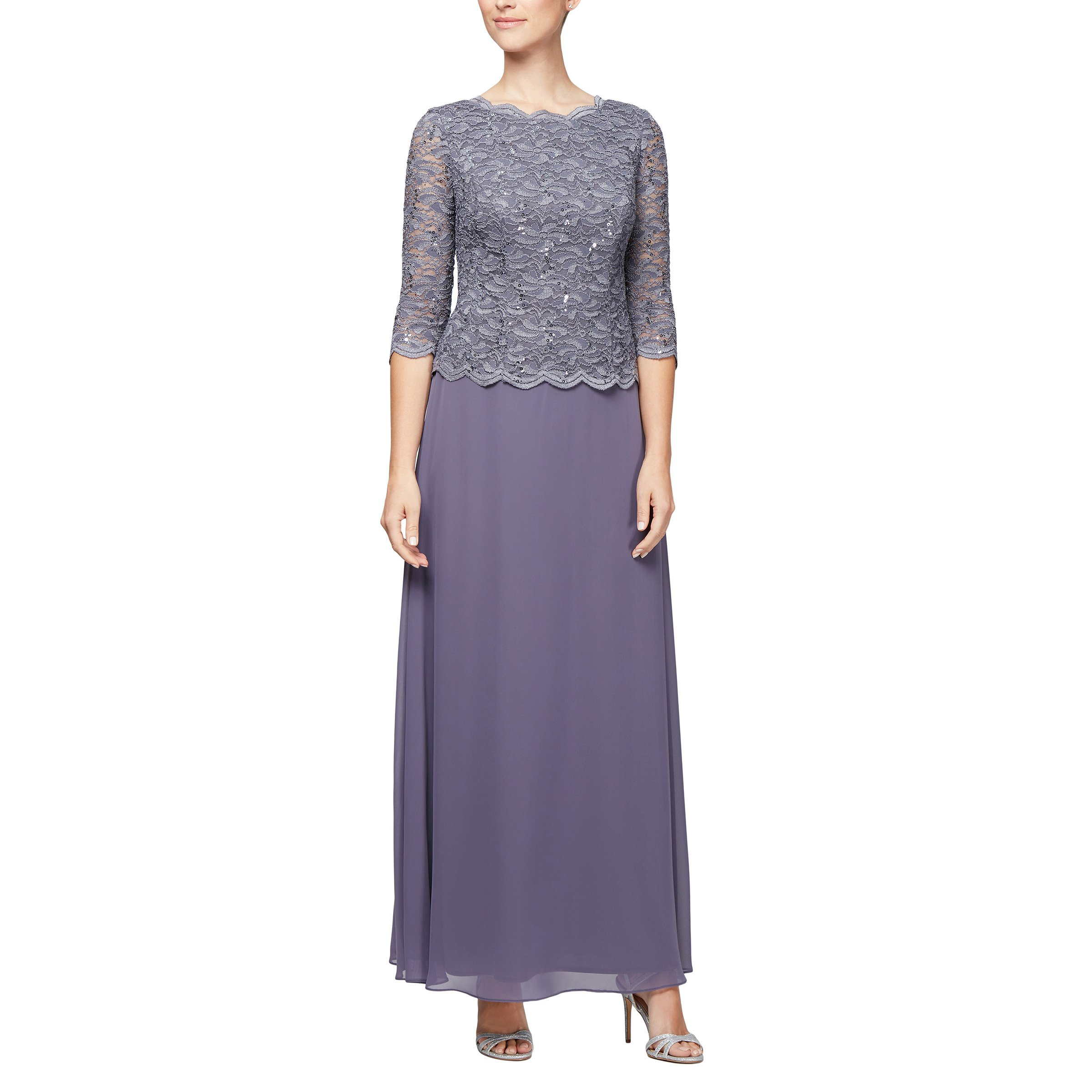 Dress Alex Evenings Womens Long Mock Dress with Full Skirt Petite and Regular Sizes