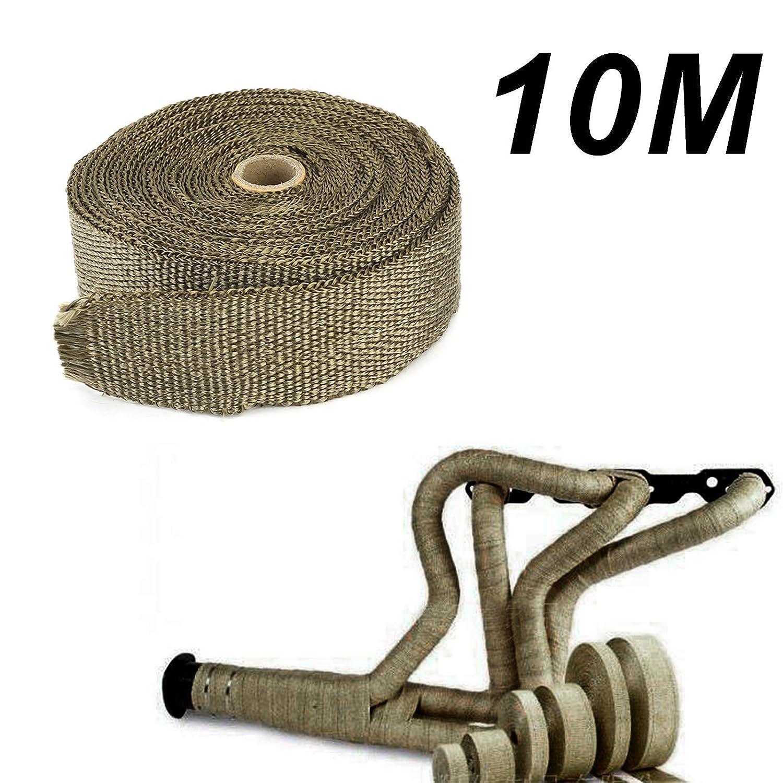 Banda protectora de calor de Titan banda para el tubo de escape de 10 m x 50 mm con 10x bridas met/álicas para coche y moto