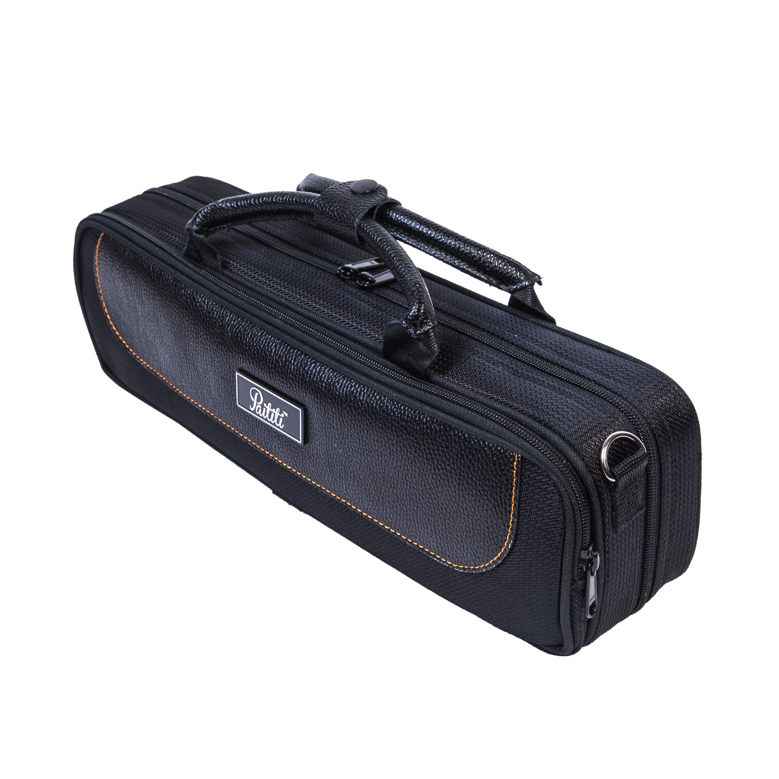 Paititi Genuine Leather ''B'' Flute Lightweight Case with Shoulder Strap Black Color