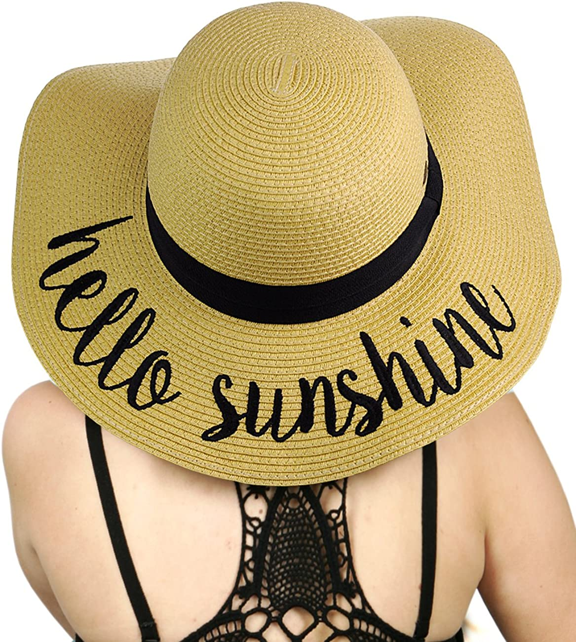 C.C Women's Paper Weaved Crushable Beach Embroidered Quote Floppy Brim Sun Hat