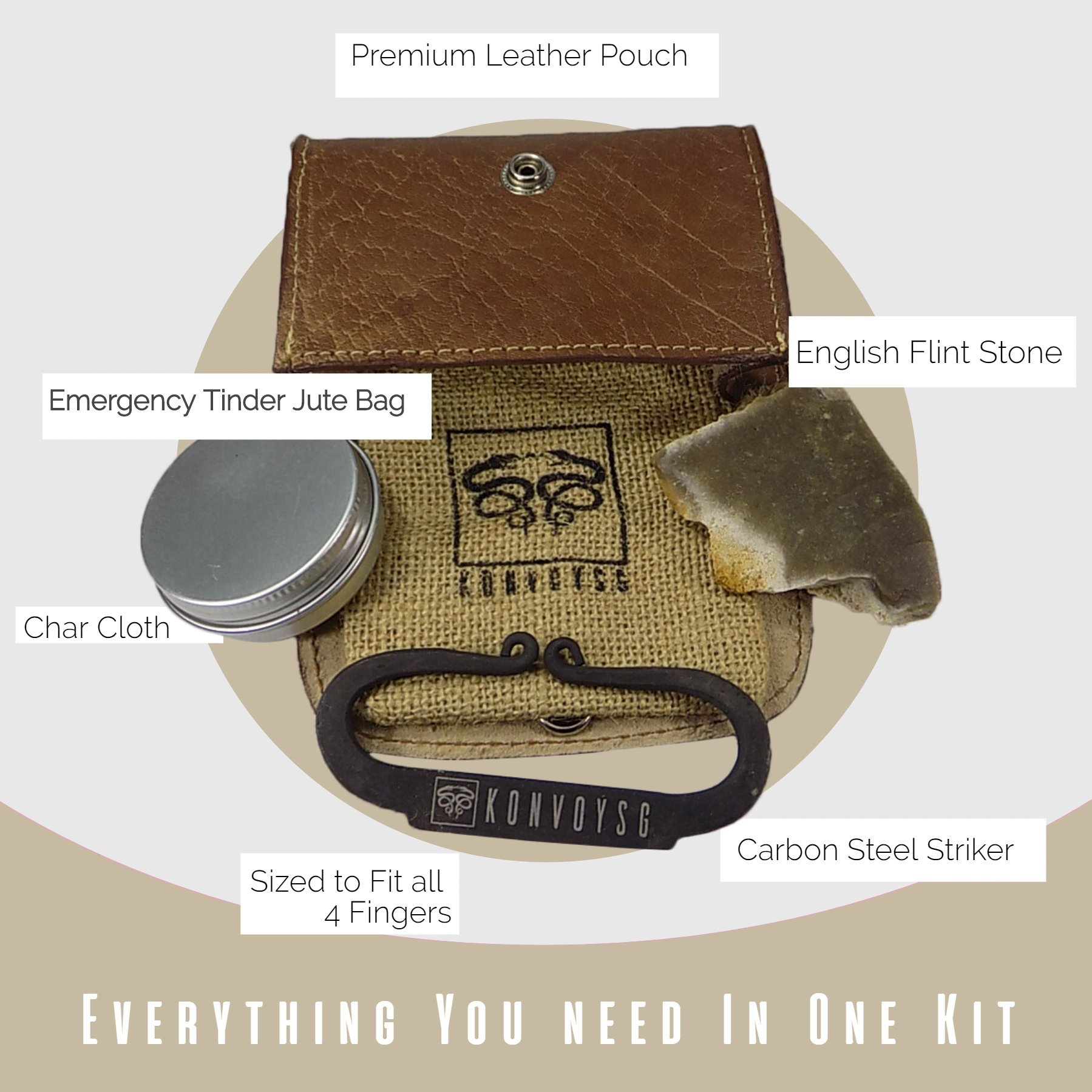 KonvoySG Flint and Steel Kit. Fire Striker, English Flint Stone & Char Cloth Traditional Hand Forged Fire Starter with a Leather Gift Pouch and Emergency Tinder Jute Bag (Coyote Brown) by KonvoySG (Image #6)