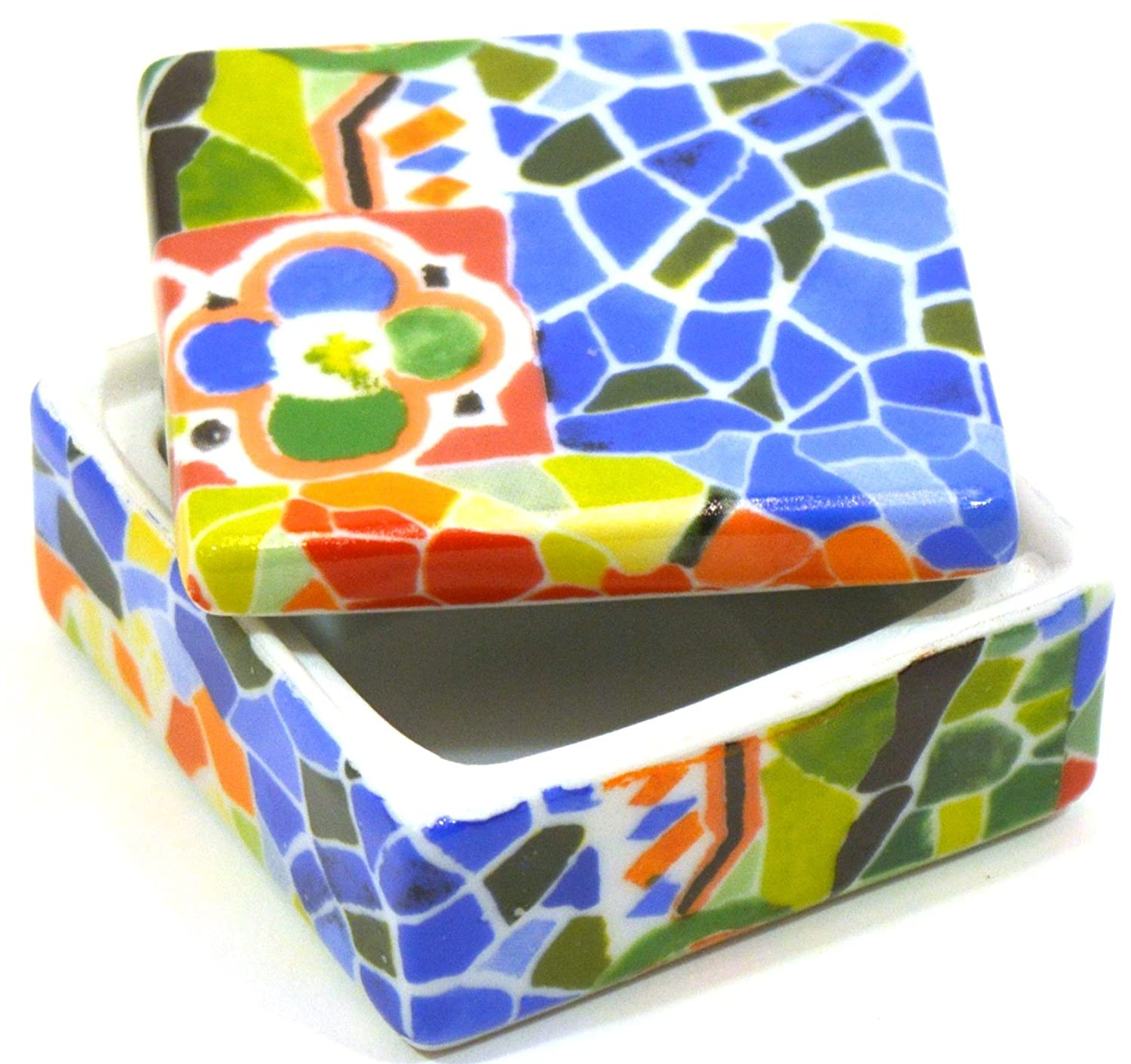 Amazon.com: ART ESCUDELLERS Porcelain SQUARED JEWEL BOX decorated in TRENCADIS Gaudí style. (Colour AURORA). 2.36 x 2.36: Home & Kitchen
