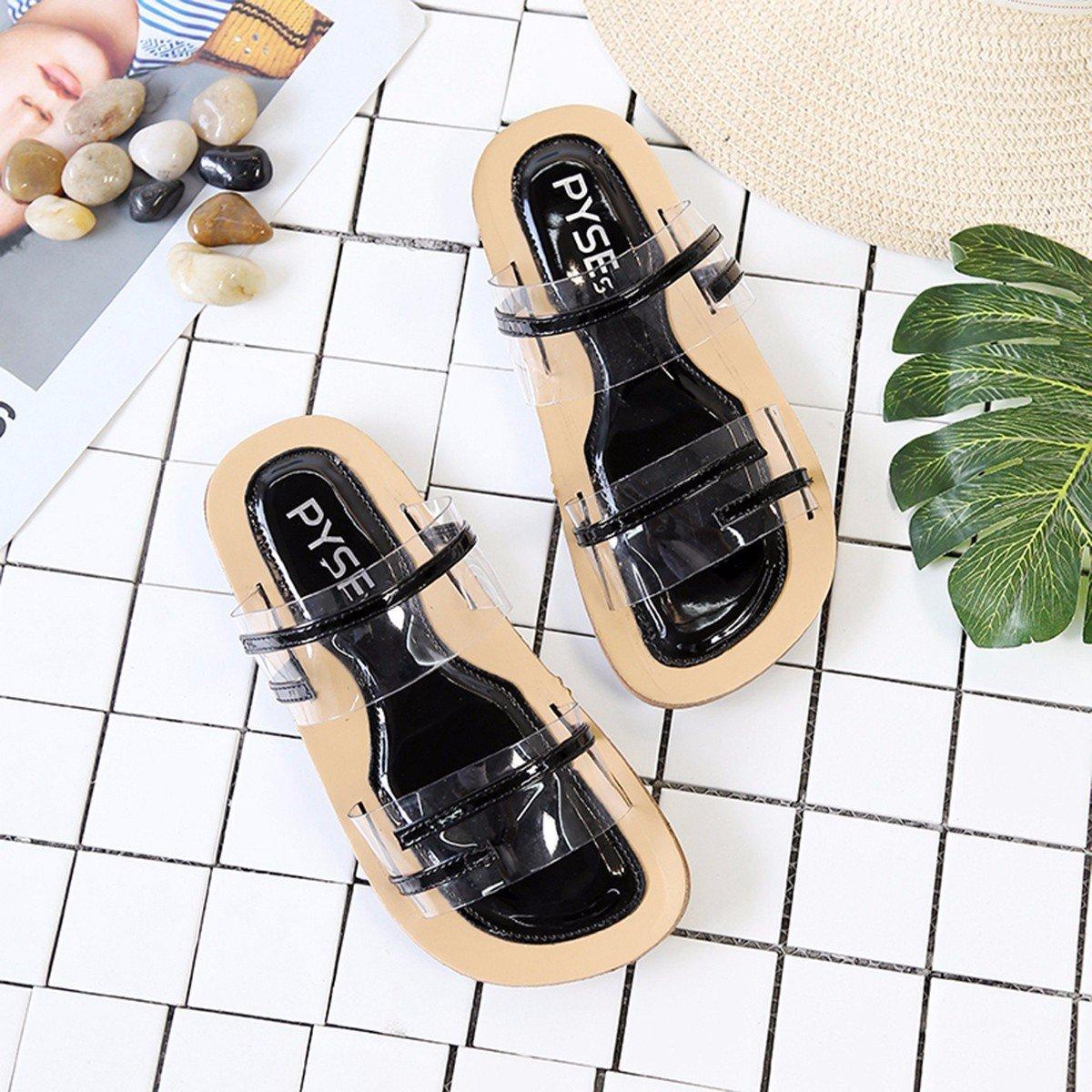 QPSSP Transparente Schuh - Hausschuhe, Flachen Boden Schuhe, Sandalen, Damenschuhe,38,Schwarz - Schuh 179573