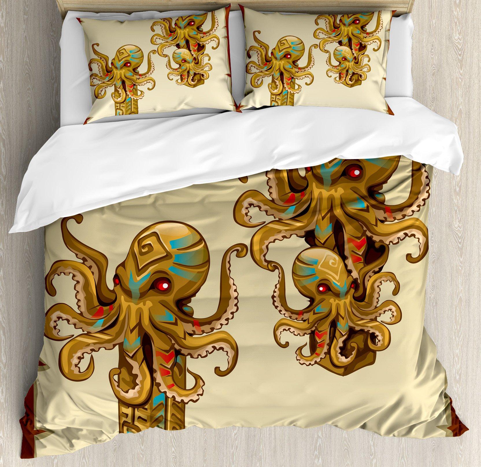 Ambesonne Octopus Decor Duvet Cover Set, Cartoon Art Tribal Monster Kraken Octopus Sculpture Ornament Illustrations Sea Creature Print, 3 Piece Bedding Set with Pillow Shams, Queen/Full, Brown