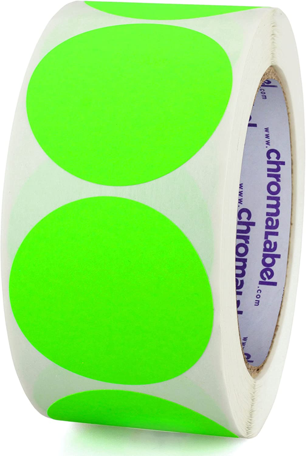ChromaLabel 2 Inch Round Removable Color-Code Dot Stickers, Inventory Labels, 500/Roll, Fluorescent Green