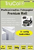 50 feuilles de papier photo jet d'encre PREMIUM MATT double-face papier photo papier 240g /m² A4 recto-verso à 9600 dpi imprimante jet d'encre spécialement enduit imperméable