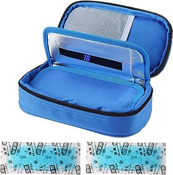 Insuline - Nevera isotérmica para transportar medicamentos para diabéticos con 2 paquetes de hielo, color azul: Amazon.es: Salud y cuidado personal