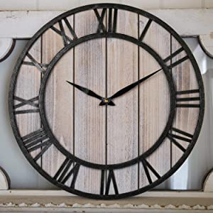 Large Wall Clock, Vintage Wooden Farmhouse Decorative Wall Clock with Metal Frame Roman Numeral, Silent Battery Operated Hanging Clock for Home Indoor, Living Room, Kitchen, Dining Room, Den - 18 Inch