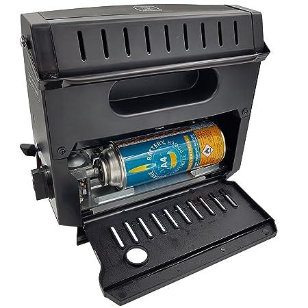 Estufa Deluxe de gas butano portátil al aire libre 1.2kW - Estufa de gas butano con encendido piezo ideal para actividades Outdoor como camping, caza, ...