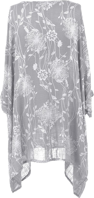 TEXTURE Ladies Women Italian Lagenlook Batwing Floral Print 2 Pocket Asymmetric Viscose Cotton Kaftan Tunic One Size Plus