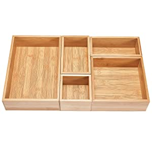 5-Piece Bamboo Drawer Organizer Set, Premium Bamboo Storage Box Kit, Expandable Drawer Divider for Office, Bathroom & Home
