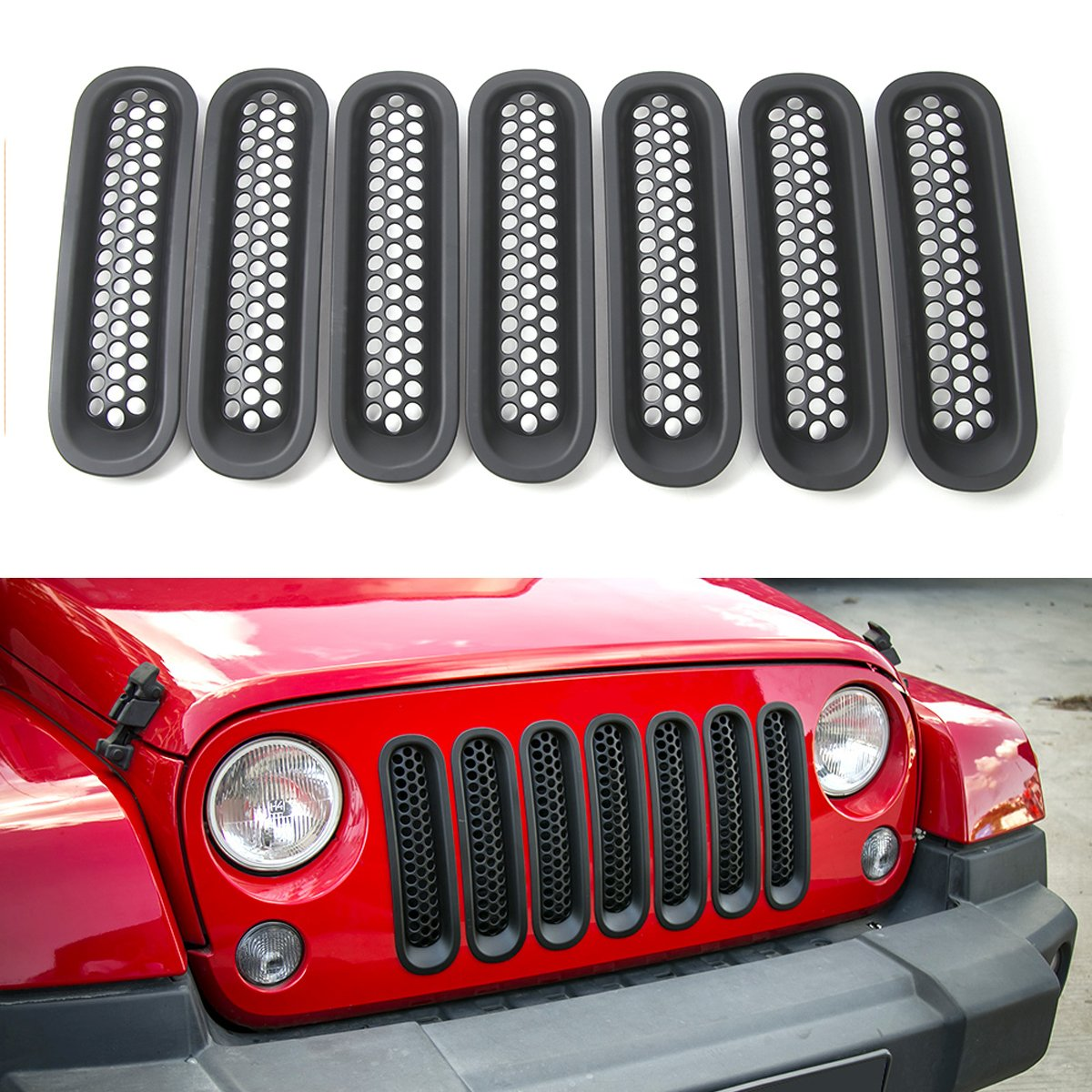 Black RT-TCZ Upgrade Version Clip-on Grille Front Mesh Grille Inserts for Jeep Wrangler 2007-2015