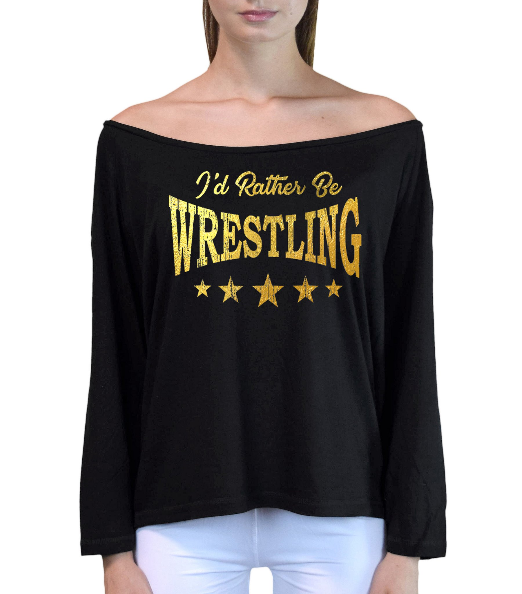 Interstate Apparel Inc Junior's Gold Foil I'd Rather Be Wrestling Black Off-Shoulder Long Sleeve T-Shirt L/XL Black by Interstate Apparel Inc