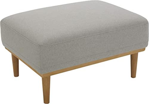 Amazon Brand Rivet Alvin Contemporary Livingroom Ottoman, 29.5 W, Light Grey