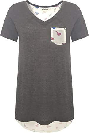 LaVieLente Women's Pocket V-Neck T-Shirt with Hand Drawn Dinosaur Pattern
