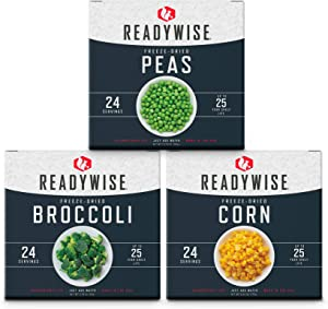 ReadyWise Freeze-Dried Vegetable Box Kit | Emergency Food | 72 Servings