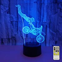 Night Lights for Kids Motocross Lamp LED 3D Illusion USB Motorbike Bedside Lamp 7 Colors Changing Birthday Gifts for…