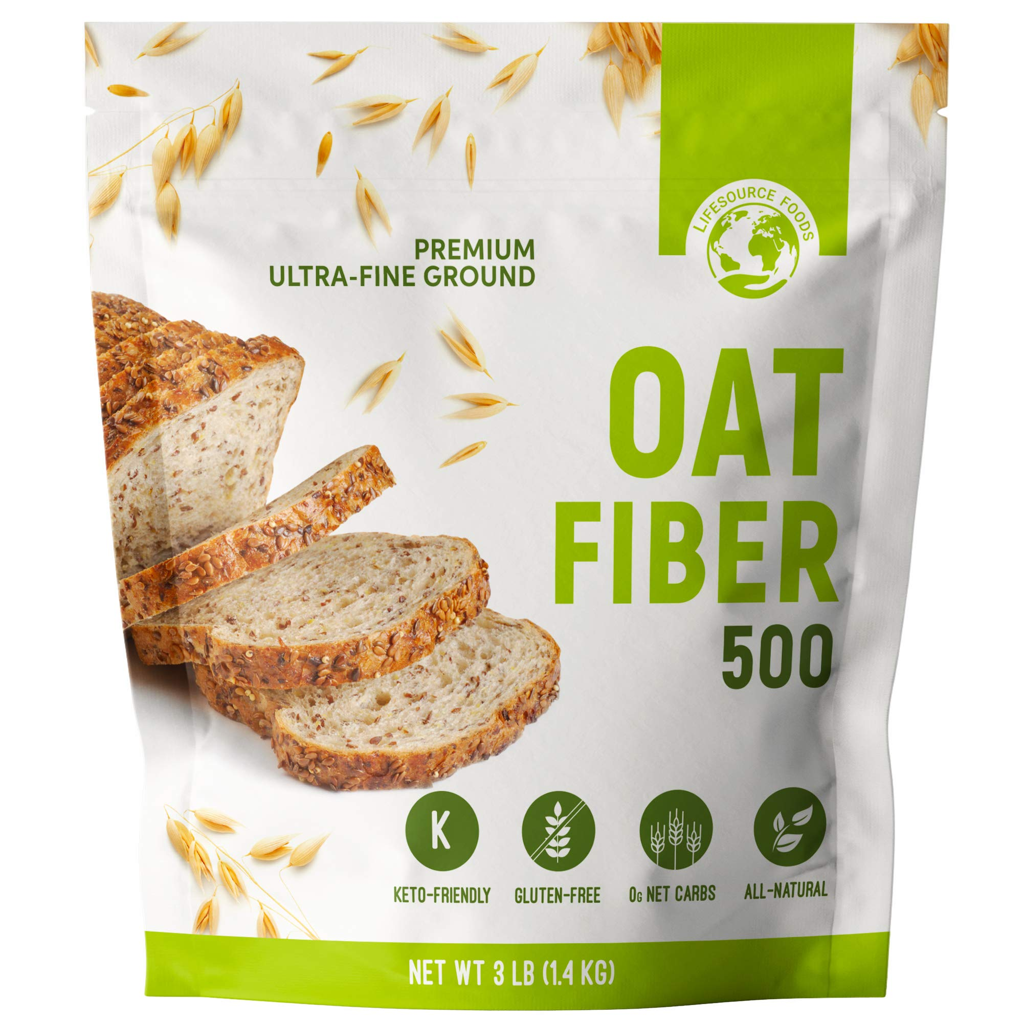 LifeSource Foods Oat Fiber 500 (3 LB) Keto, Zero-Carb, Gluten-Free, All-Natural Fiber for Low-Carb Baking and Bread, OU Kosher, Resealable Pouch