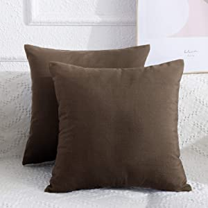 Lipo Linen Blend Throw Pillows Covers - Set of 2 Pillow Covers 20x20, Decorative Euro Pillow Cover, Soft Cushion Case, Home Decor for Couch, Bed, Sofa, Bedroom, Car (Brown, 20X20 Inch)