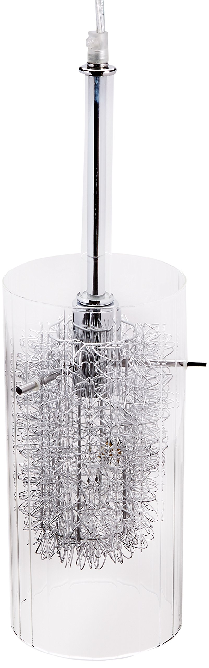 Lite Source LS-19377 Caldwell Pendant Lamp, Chrome with Clear Glass / Aluminum