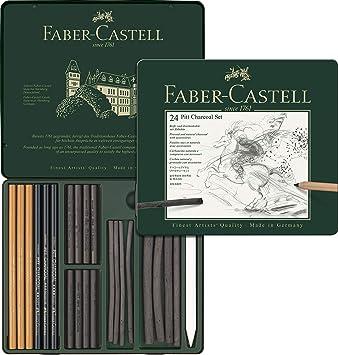 Faber-Castell 112978 - Estuche de metal con 24 piezas de carbón: Amazon.es: Oficina y papelería