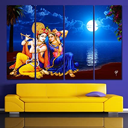 Great Ray Decor (24 Inch X 36 Inch) Multiple Sparkling Radha Krishna Wall Painting