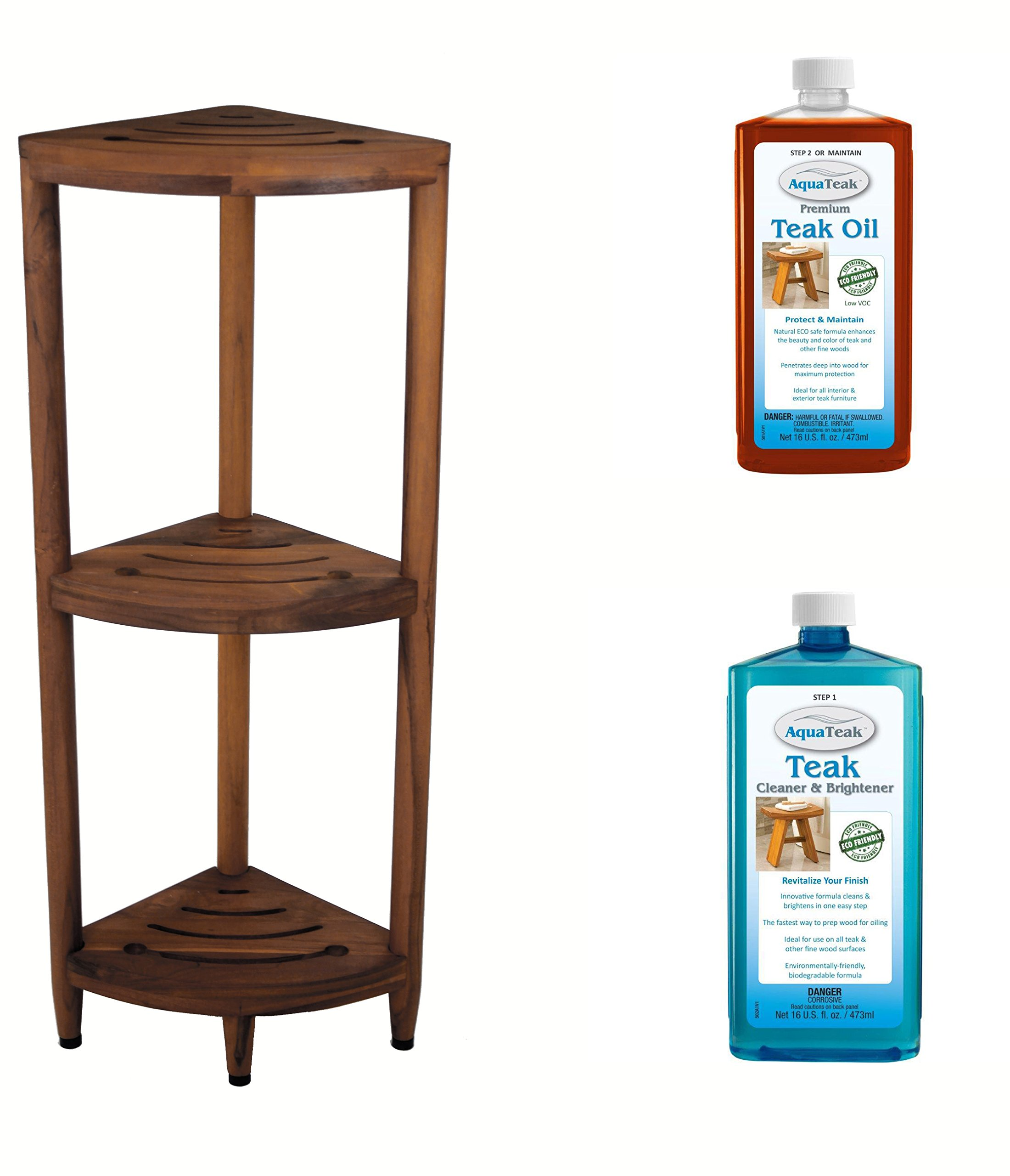 The Original Kai Corner Teak Bath Shelf & AquaTeak Two-Step Care Kit