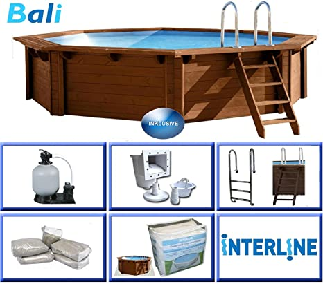 Interline 50700220 Pool Bali Madera pared de 8 rectangular, 6,55m de diámetro x