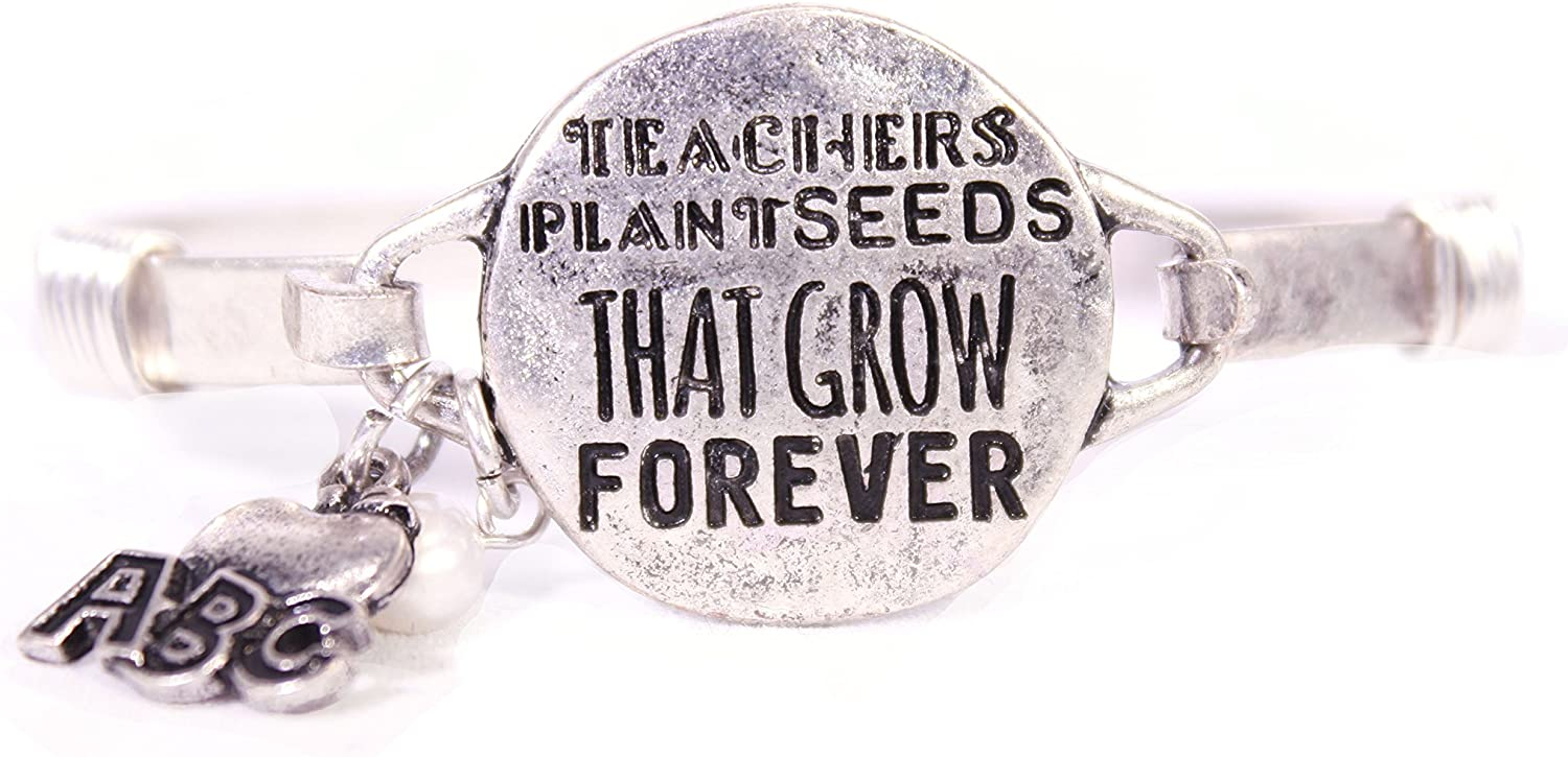 """TEACHERS PLANT SEEDS THAT GROW FOREVER"" Bangle Bracelet with ABC Apple Charm and Pearl Bead"