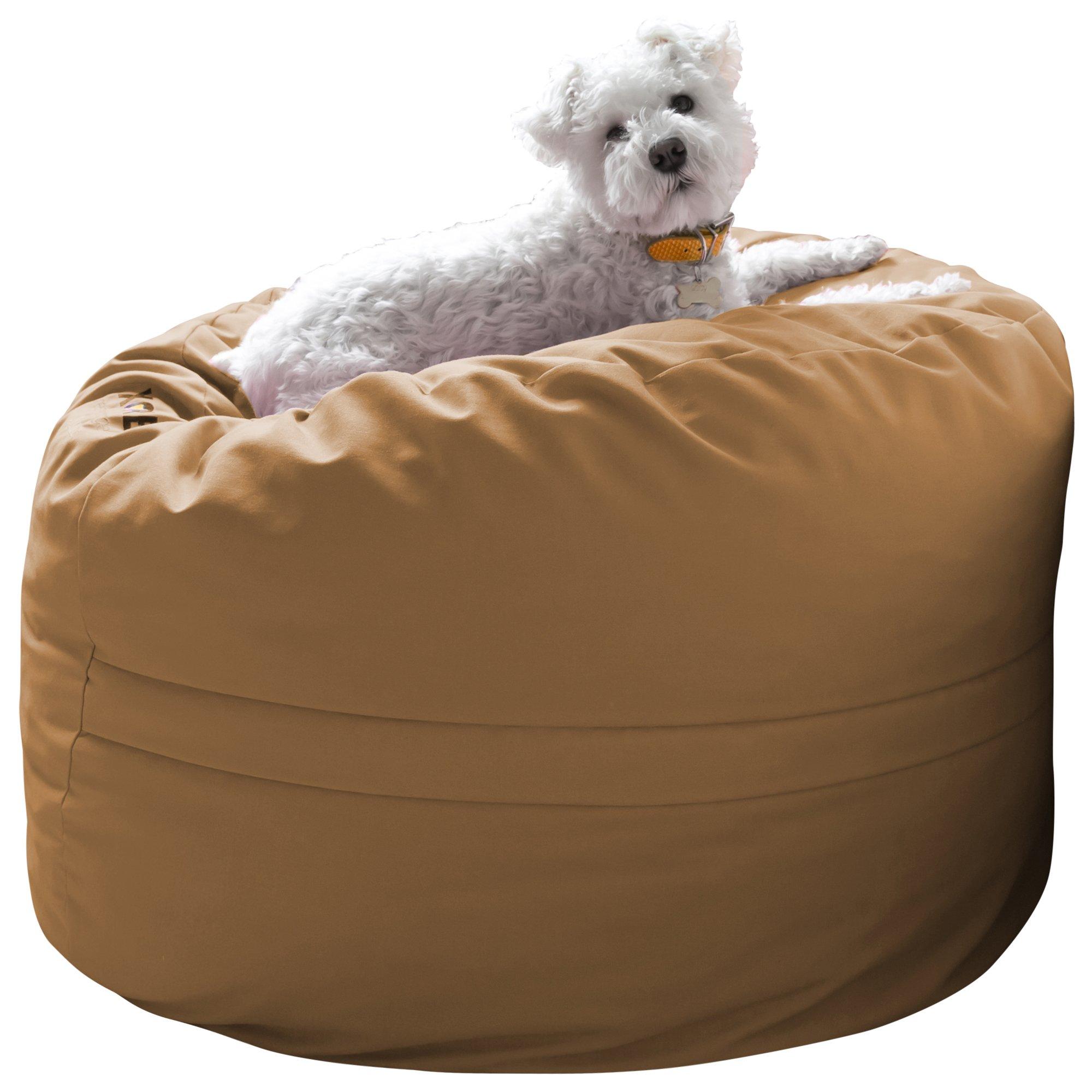 Xorbee 3-Foot Foam-Filled Bean Bag Chair in Twill, Cafe Tan