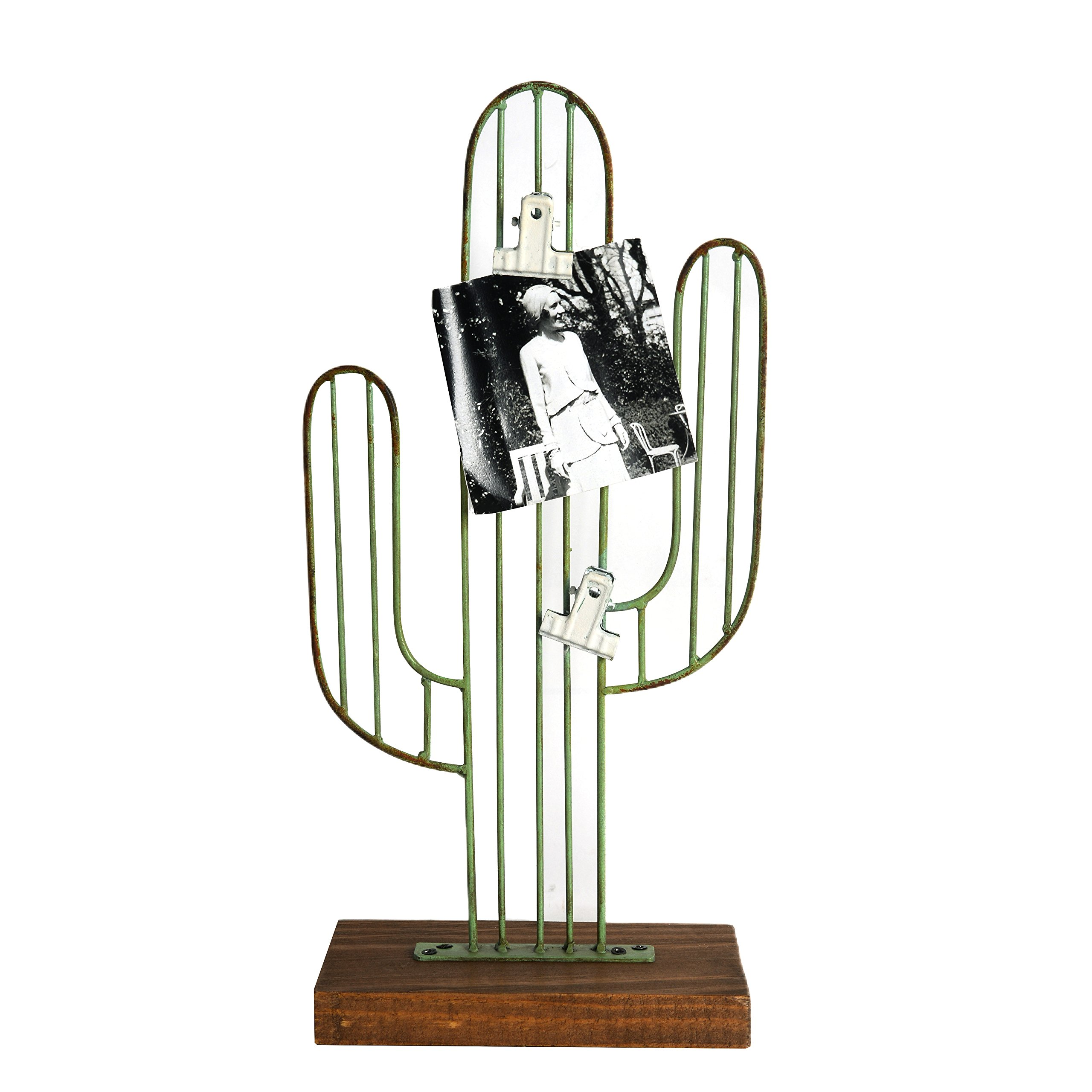 Nikky Home Metal Cactus Memo Holder Desk Paper Clip Organizer Stand, Green